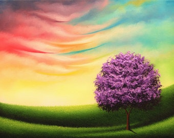 Lavender Tree Photo Print of Landscape Painting, Colorful Art Poster of Whimsical Tree, Tree Picture, Contemporary Wall Art on Photo Paper