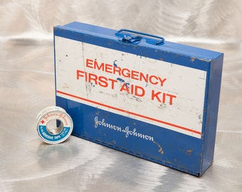 Vintage Johnson & Johnson Industrial First Aid Box - All Metal - complete with vintage roll of adhesive tape.