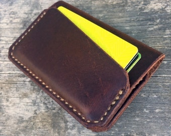 Leather wallet, Handmade, 3 pocket wallet, Brown pullup leather, Folding card wallet, Mens wallet, Womens wallet, the Adams wallet
