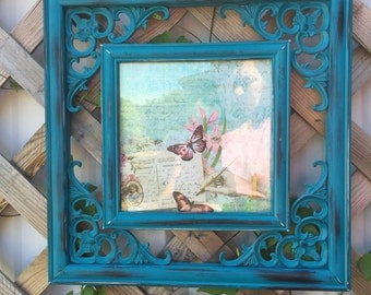 Teal Blue Square Hanging Picture Frame - Wall Frame - Blue Wall Decor