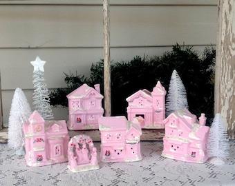 Pink Christmas Village - Lighted Enchanted Village - Pink Christmas Holiday Mantel Decoration