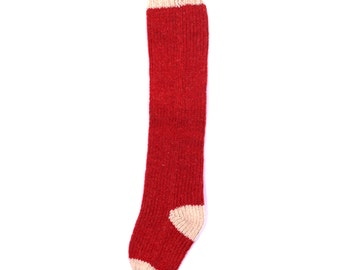 Handknit Christmas Stocking Red Farmhouse Solid
