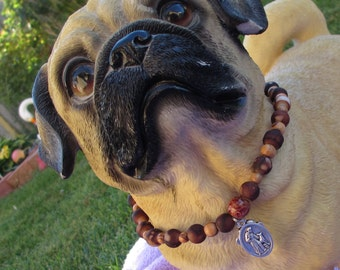 Elastic Brown And Wood Beaded Dog Necklace With Paw Print Charm And St. Francis Charm