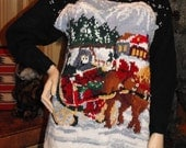 Jingle Bells Sweater - Horse Drawn Carriage Scene - Vintage Christmas Sweater, Snow Capped Mountains, Pine Trees, Snow Scene, Bells, Black
