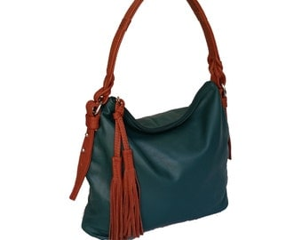 Green Leather Hobo Bag with Tassel, Fashion Shoulder Bags, Stylish Braided Handbags, Annabelle