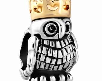 Owl King Spacer Bead For European Style Charm Bracelet