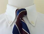 BEAUTIFUL Vintage Cable Car Clothiers of San Francisco 100% Silk Brown, Cream, & Navy Blue Regimental Repp Stripe Trad / Ivy League Neck Tie