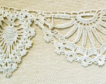 """Cotton Delicate Large Double Design Scallop and Loop Crochet Edging Ribbon Insertion 1-1/2"""" Wide 50"""" in Length"""