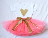 HEART ATTACK CORAL & Gold Tutu Set - T-Shirt and Tutu Skirt - Newborn to 5T
