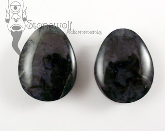 Green Moss Agate 30mm Teardrop Plugs for Stretched Ears Piercings Handmade - Ready to Ship