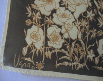 Vintage 1960s Vera scarf 100 percent acetate floral olive and lemonade 26 x 26 inches