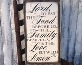 Lord Bless the Food before us Family beside us Love between us Amen Rustic Farmhouse Style Framed Wood Kitchen Dining Room Sign 13.5x24