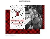 Buffalo Plaid Reindeer Photo Card   4 Styles   Merry Christmas or Happy Holidays   Tartan Plaid   Printable OR Professionally Printed   5x7