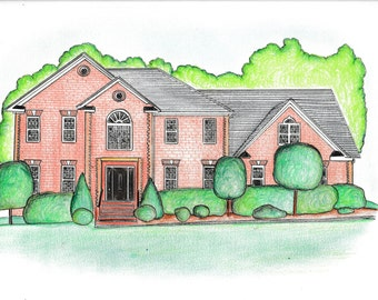 Custom House Portrait from photo. Custom house drawing. House Illustration.Personalized with names, address, quote.Gift idea.