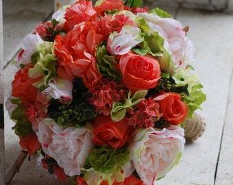Silk bridal bouquet, peach, coral roses, peach blush roses, peach snowball, green hydrangea