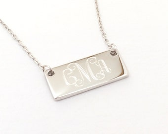 Sterling Silver Monogram Tiny Bar Necklace Monogrammed Bar Necklace for Girls Bridesmaid Gift Present