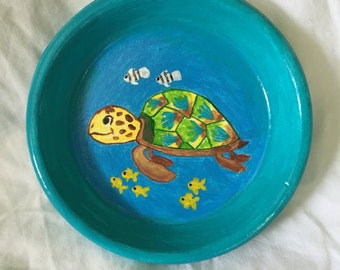Hand painted terra cotta saucer coaster