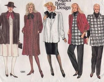 80s Maternity Dress Jacket Top Pants & Skirt Vintage Sewing Pattern - Vogue 1261 - Size 12 14 16, Bust 34 36 38, Most Uncut