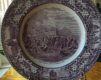 English  Transferware  Plate William Penn Signing Treaty with Indians Purple  Transferware  Crown Ducal Colonial Times