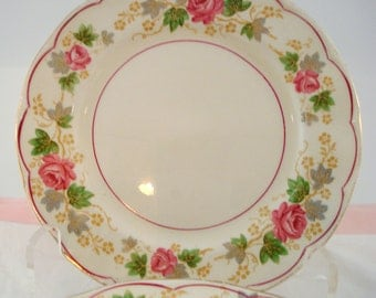 Vintage Wedding Dessert Plates Grindley England Creampetal Pink Rose Set of 6 Bread Butter Plates Shabby Vintage Bridal Shower