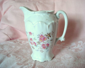 Vintage Pitcher Creamer Floral Handpainted Shabby Cottage Chic