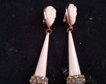 Art Deco Style Clip Earrings, Dangles with Rhinestones