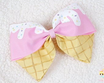 Ice Cream Hair Bow, Oversized Pink hairbow, Pastel Teens hair bow, Kawaii bow, Hand Painted bow, hair bows for girls, Lolita bow, Fairy kei