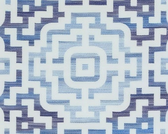 Blue Medallion Upholstery Fabric - Batik Blue Fabric for Furniture Upholstery - Dark Blue Ombre Custom Pillow Covers - Heavyweight Fabric