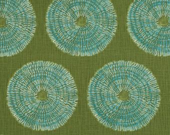 Olive Green Geometric Upholstery Fabric - Heavyweight Aqua Cotton for Furniture - Blue Green Pillow Covers - Olive Green Aqua Blue Curtains