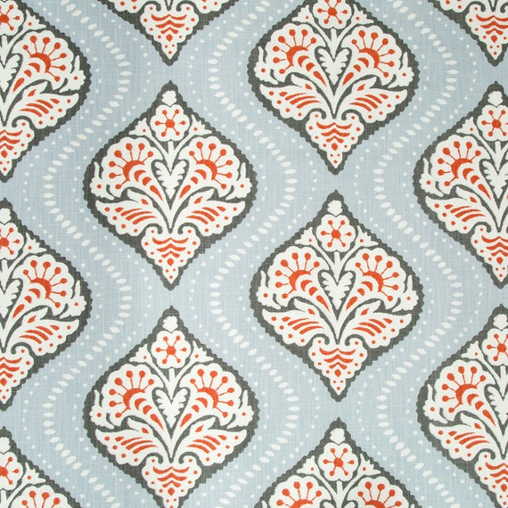 Coral Grey Trellis Upholstery Fabric Light Blue White Grey