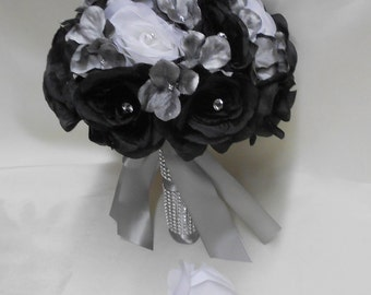 Wedding Silk Flower Bouquet Your Colors 2 pieces Black White Bride's Bouquet Silver Gray Hydrangeas with Boutonniere FREE SHIPPING