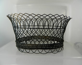 Vintage Wire Basket Florist Wire Basket Signed French Basket Black Wire Large Basket