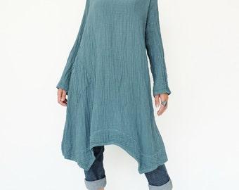 NO.201 Aqua Double Cotton Gauze Long Sleeves Tunic Dress, Boat-Neck Dress, Stitch  Detail Tunic, Women's Tunic