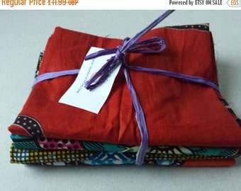 BANK HOLIDAY SALE Bundle of 4 Fat quarters African wax print fabric smaller pieces craft project quilting applique embroidery Bundle 103
