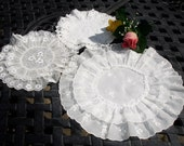 RESERVED Order, Lot of Three Doilies, round double doilies, 1950s vintage, accent linens, home decor, cottage chic, shabby chic