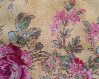 DESTASH Fabric -  7 inches of Pink Rose and Other Floral on Yellow Background with Green Leaves Quilting Fabric