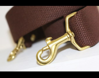 1.50 in wide - Brown adjustable cotton webbing shoulder strap - solid brass - Cross Body Messenger