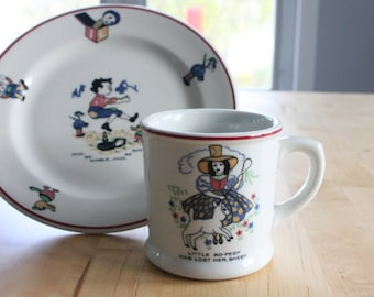 2 sets available Little Bo-Peep Mug  and Jack Be Nimble Plate, Shenango China Nursery Rhymes Series ~ 1920s-1950s