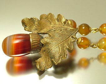 Vintage/ antique, Victorian / Edwardian gilt metal and banded orange agate gemstone / semi precious, acorn necklace - jewelry jewellery