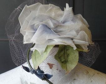 Vintage Fascinator Hat, Blue Flower, Retro, Mid Century, 1960s, Netting, Womens Fashion Accessory