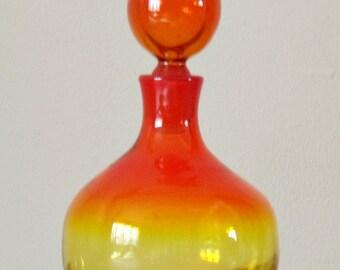 Blenko Wayne Husted Mold 636s, Vintage Art Glass, Amberina, Onion, Stopper, Home Decor, Collectible