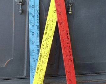 Vintage Wood Folding Ruler, Yardstick, Advertising, Graphics, Blue, Yellow, Red, Upcycle, Repurpose