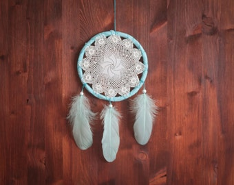 Dream Catcher - Dream of the Sea - Unique Dream Catcher with White Handmade Crochet Web and White Feathers