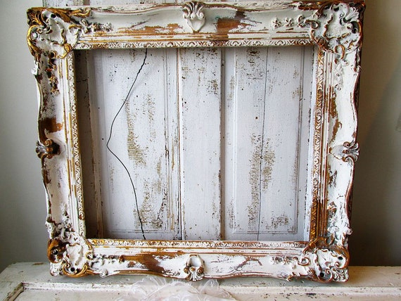 Large Wooden Picture Frame Distressed White W By