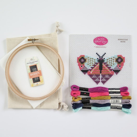 Cross stitch kit moroccan moth diy beginner