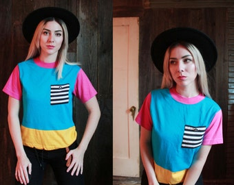 Vintage 1990s XS / S color block tee / bright neon / hot pink / black and white stripes / cropped /