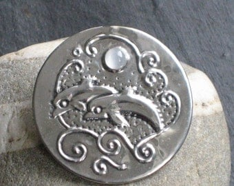 Moonstone Dolphins Silver Pewter Brooch