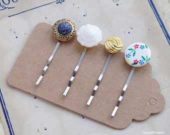 Vintage bobby pins set, Upcycled Hair jewelry, Bright hair pins, Vintage Button hair Pin, Upcycling fashion