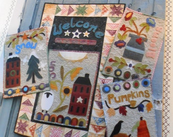 Wool Applique Quilt pattern - 'Warm and Wooly Welcome' (5 patterns in one)