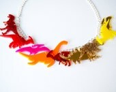 Dinosaur Necklace. Sunshine Ombre and Glitter Charm Necklace. Statement Necklace. Triceratops. T-Rex. Bridal Jewellery. Alternative Bride.